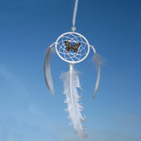 Car Dream Catcher, Car Dreamcatcher, Mini dreamcatcher, White Dream Catchers, Heavenly dream, White, Gold butterfly, beads, feathers