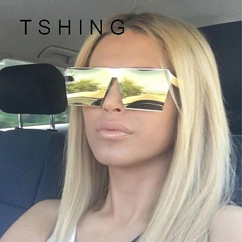 TSHING New Men Oversized Square Sunglasses Women Fashion Large Size Metal Steampunk Mirror Sun Glasses For Male Female UV400