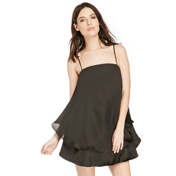 Black Adjustable Spaghetti Strap Layered Dress