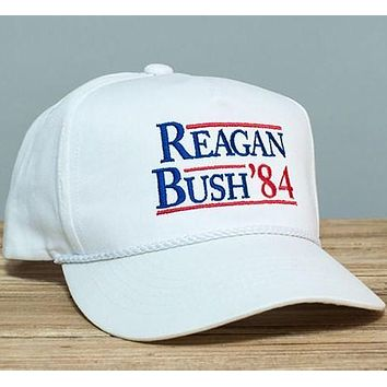 Reagan Bush '84 Rope Hat in White by Rowdy Gentleman