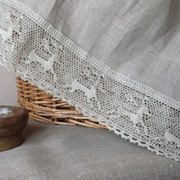 Linen Table Runner Topper with French lace natural grey flax wrinkled washed vintage look French Country cottage style