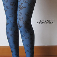 Skulls and Peace sign pattern Spandex Leggings Blue Skull Screen print Leggings Sexy Stretch Pants Full Length Size M Free size