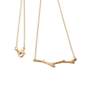 2016 New Gold and Silver Simple Tree Branch Twig Pendant Necklaces for Women Pretty Plant Limb Long Chain Couple Necklace XL146