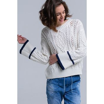 Beige Boat Neck Open Back Sweater