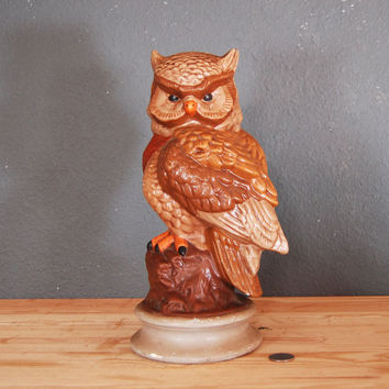 Vintage Owl Statue / Large Brown Ceramic Owl / 1970's