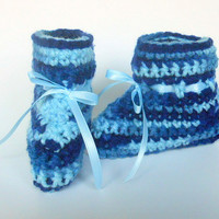 Blue Baby Booties   Infant Boy Slippers  Girl  Clothing Children 3 - 6 Months Light Pale Ribbon