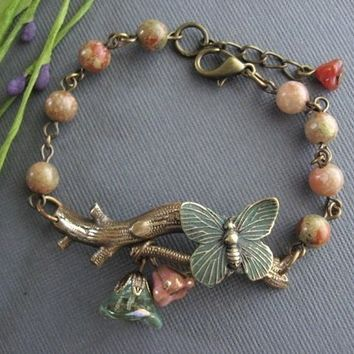 Branch Bracelet, Butterfly Bracelet, Stone Beads, Butterfly Jewelry, Antique Bracelet, Bronze, Butterfly Jewelry