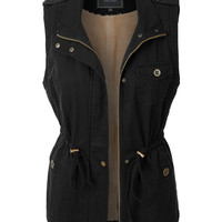 LE3NO Womens Faux Fur Anorak Military Vest with Pockets