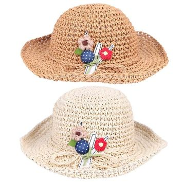 3-8Y Cute Kids Girl Knitting Embroidered Flowers Floppy Straw Cap Large Brimmed Bucket Hats Pastrol Multi-colors Sunproof Hats