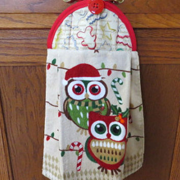 Christmas Owl Towel, Hanging Kitchen Towel, Tie Towel, Decorative Towel, Hanging Dish Towel