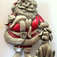Jonette Jewelry JJ Vintage Signed Santa Claus Christmas Pin Brooch Unique Gift Free Shipping