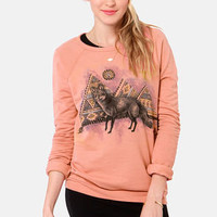Obey Fox Dusty Coral Fox Print Sweater