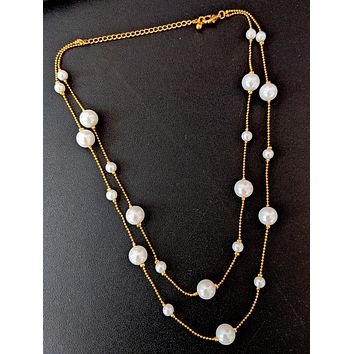 Double stranded faux pearl bead choker necklace for western wear