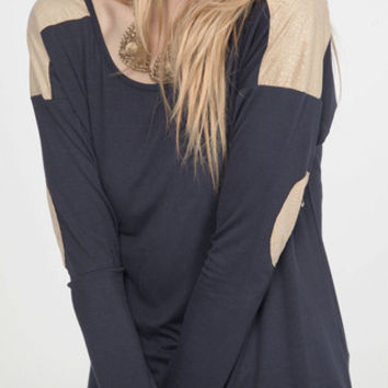 Shimmer Gold Shoulder and Elbow Patches -Navy