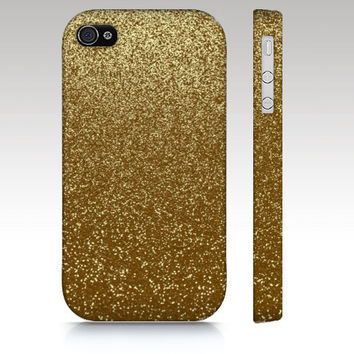 iPhone case, iPhone 4 case, iPhone 5 case, gold glitter case, sparkle case, photo of sparkle, art for your phone
