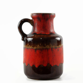 Vintage Scheurich Fat Lava Jug Vase, West German Pottery, Mid Century Modern, Red and Brown