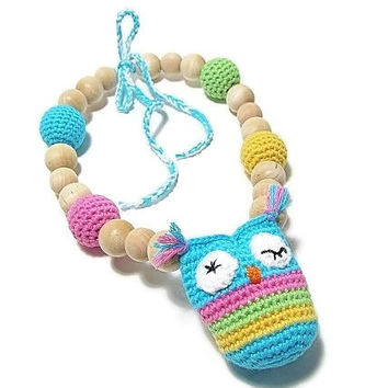 Teething Necklace Owl - Nursing Necklace - Wooden Bead Necklace - Smart Mom Jewelry - Chew Necklaces for Moms - Babywearing Necklace -