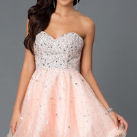 Short Strapless E1617 Homecoming Dress