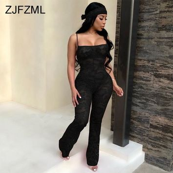 Spaghetti Strap Sexy Lace Rompers Women Jumpsuit Strapless Backless Bodycon Flare Bodysuit Elegant Sleeveless One Piece Overall