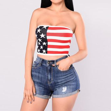 2017 Summer Sexy Women Strapless Bustier Crop Top American Flag Print Tank Top Women Bandeau Camisole Tube Top Vest Red