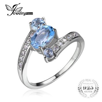 JewelryPalace 925 Sterling Silver 1.1ct Natural Blue Topaz 3 Stone Anniversary Ring Women Party Fine Jewelry 2016 Brand New