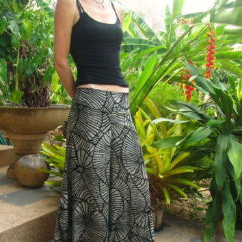 Black Troppical Leaf Flare Cotton Trousers Harem Yoga Pants Hippie Travel Boho | eBay