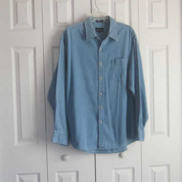 Denim Shirt, Mens XL Shirt Jacket, Hipster Clothing, 90s Grunge Denim, Long Sleeve Blue Jean Shirt, Club Room Oversized Women Denim Shirt