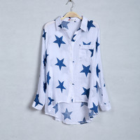Clearance : white blue cotton long sleeve blouse final clerance ghl0028