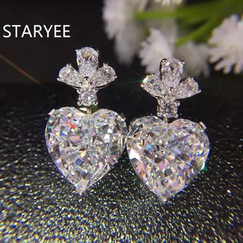 14KT White Gold Luxury Fancy Heart Cut 5Ct Simulated Diamond Drop Earrings