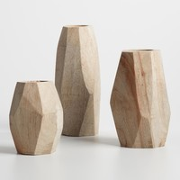 Natural Wood Faceted Vase Collection
