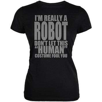 Halloween Human Robot Costume Juniors Soft T Shirt