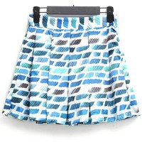 Abstract Graphic Pleated Skirt