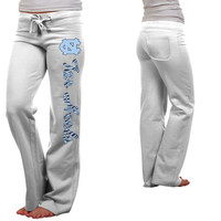 North Carolina Tar Heels :UNC: Ladies Animal Print Rugby Fleece Sweatpants - White