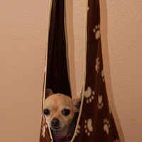 Brown Paw print sling for Small Dogs with matching Harness