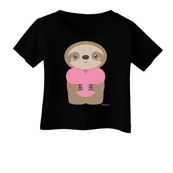 Cute Valentine Sloth Holding Heart Infant T-Shirt Dark by TooLoud