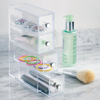 4 Drawer Organizer Tower Vanity Clear Acrylic Cabinet to Hold Makeup Beauty Products