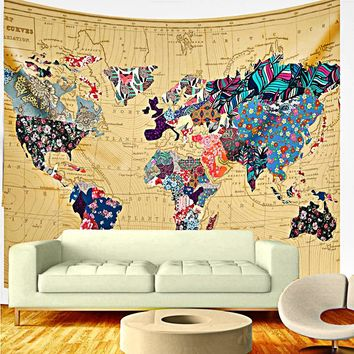 Patchwork World Map Boho Fabric Wall Tapestry