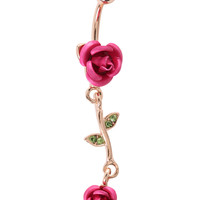 Morbid Metals 14G Pink Rose Surgical Steel Navel Barbell