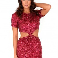 Missguided - Kaliyah Sequin Cut Out Knot Dress In Burgundy