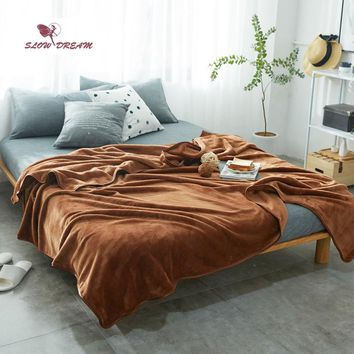 Slowdream Brown Flannel Blanket Bed Mantas Soft Throw Fleece Winter Blanket For Children Adult Bedspread Sofa Bed Covers Quilts