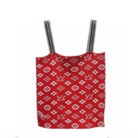 Louis Vuitton & Supreme LV Summer new slim tube top sexy short paragraph navel camisole female t-shirt Red