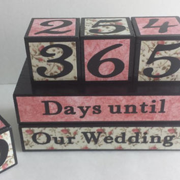 Wedding Countdown Wood Blocks/Days Until Our Wedding - Pink Floral