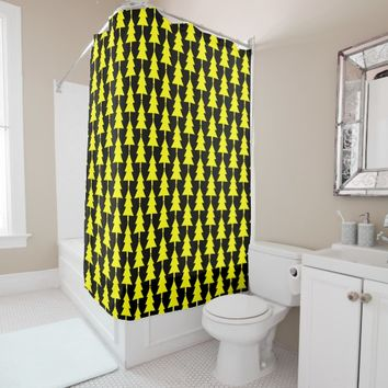Funky Yellow Christmas Tree Shower Curtain