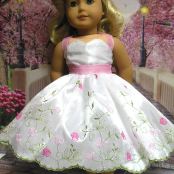 "Historical American girl doll clothes ""Fabulous Fifties"" (18 inch doll) 1950's  pink white sock hop prom dress headpiece clip"