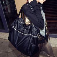 Fashion Black Zipper Handbag Messenger bag