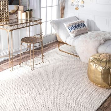 nuLOOM Handmade Braided Cable White New Zealand Wool Rug (5' x 8') | Overstock.com Shopping - The Best Deals on 5x8 - 6x9 Rugs
