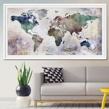 Large World Map Watercolor Push Pin, Push pin travel wolrd map wall art, Extra Large Watercolor World Map Poster, Home Decor Print (L26)