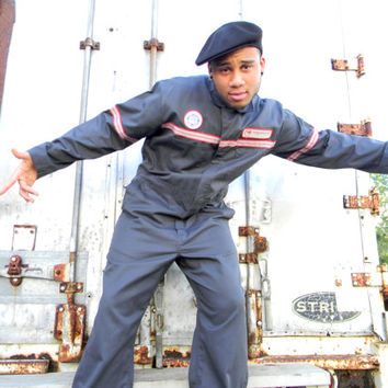 Vintage 80s Gray Northwest Airlines Airplane Mechanic's Suit, Coveralls, Jumpsuit, Overalls PERFECT for B-Boys, Dancers, Halloween Costume