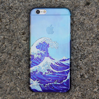 Crystal Transparent Japanese Wave iPhone 6 Case,iPhone 5S/5 Case,iPhone 5C Case