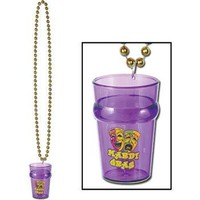 MARDI GRAS BEAD NECKLACE WITH SHOT GLASS